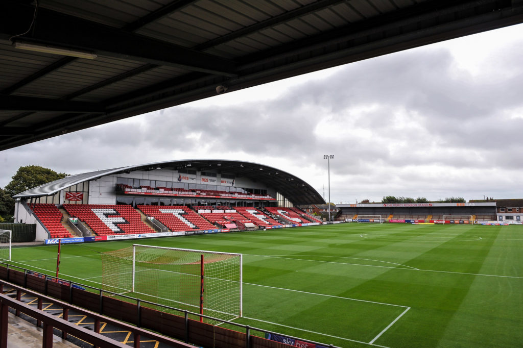 Fleetwood Town's Parkside Stand looking from Fleetwood Town's Memorial Stand during the Sky Bet League 1 match between Fleetwood Town and AFC Wimbledon at Highbury Stadium, Fleetwood, England on 10 August 2019. Photo by Stephen Buckley / PRiME Media Images.