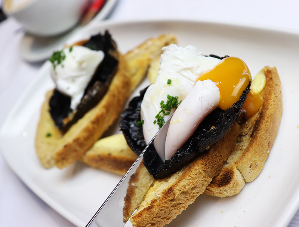 Poached egg and flat mushrooms on toast
